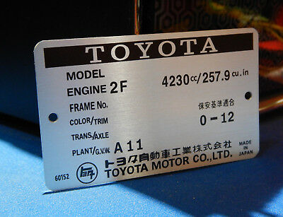 Toyota Land Cruiser Firewall Data ID Plate VIN 2F Engine FJ40 FJ43 FJ60 FJ62