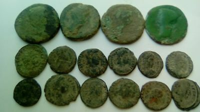 Lot Of 16 Ancient Bronze Roman Coins Uncleaned