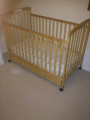 Dream On Me Convertible Crib with Roll Away Trundle Drawer & Mattress