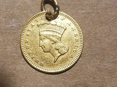 1858 Type III Indian Princess Gold Dollar Coin $1 holed with loop VERY NICE
