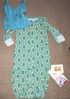 KicKee Pants Python Infant Converter Gown & Double Knot Hat New 3-6 Months