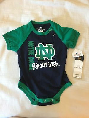Nwt Baby Infant Notre Dame Navy Blue & Green Logo One Piece 3-6 Months