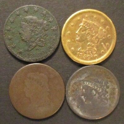 Lot of 4 US Large Cents Culls as is coins