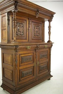 French Renaissance Cabinet, Heavily Carved Cabinet, France 1880, Antique, B1124