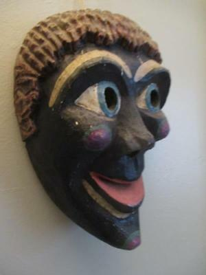 Fantastic Old Mexican Black Face Painted Wood Mask