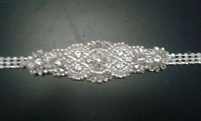 "Bridal Belt Diamanté 28"" Waist Extends to 43"""