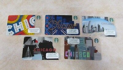 Starbucks~ Chicago Gift Cards~ Set Of 5 Different Designs New Unswiped