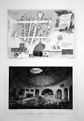1820 Siracusa catacomba Italia veduta incisione engraving acquaforte Saint Non