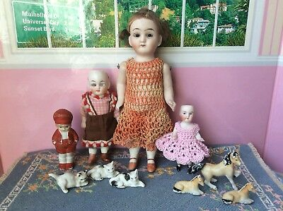 Lot Of 10 Antique German Miniature Bisque Dollhouse Dolls Glass Eyes Horses Cats
