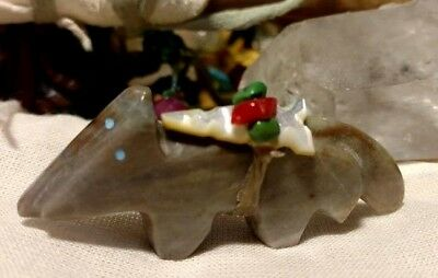Zuni Fetish Mated Wolves pair Carved Marble Turquoise inlay Arrowhead Coral