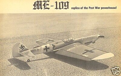 """Model Airplane Plans (UC): Me-109 • 51"""" Stunt for .29-.35 Engines by Jack Sheeks"""