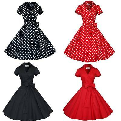 Women's Bow Belt Vintage Style 1950s Rockabilly Audrey Party Swing Skaters Dress