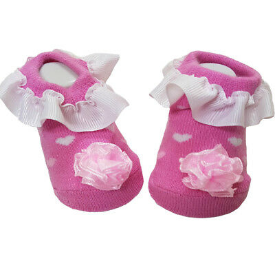 New Born Baby Girls Pink Frilly Socks with Hearts and Flower Wholesale Lot of 12