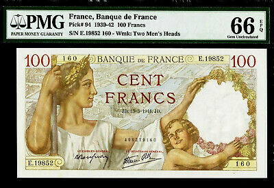 France 100 Francs 1941 Pick-94 GEM UNC PMG 66 EPQ