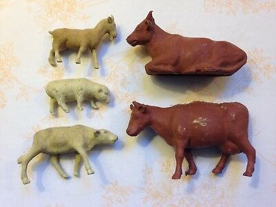 ViNtaGe early rubber toy farm animals - cows, billy goat, sheep