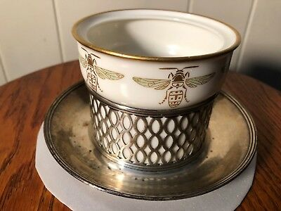 Antique/vintage Tiffany & Co And Lenox Sterling Silver Honey Pot  Monogrammed