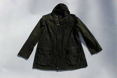Barbour- A1 Durham Unlined Waxed Cotton Jacket Made In England Sage Hooded