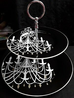 """Black and White Artique Porcelain Two Tier Cake Stand """"Chandelier"""""""