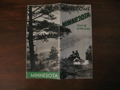 Welcome to Minnesota  1950 Travel Brochure  Fishing Lakes Industry Map Camping