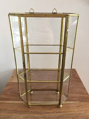 "Vintage Glass Brass Display 3 Shelf Cabinet 10"" Hanging Tabletop Trinket Case"
