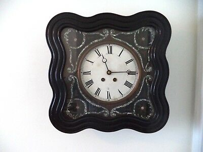 Antique French Napoleon III Working Ebony Mother of Pearl Wall Clock 1880!