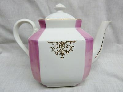 staffordshire  victorian teapot sturdy china pink white 1880s antique teapot old