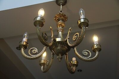 Magnificent Vintage French Cast Brass Six Arm Chandelier