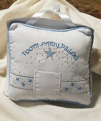 Stephan Baby Keepsake Embroidered Tooth Fairy Pillow, Blue - NEW