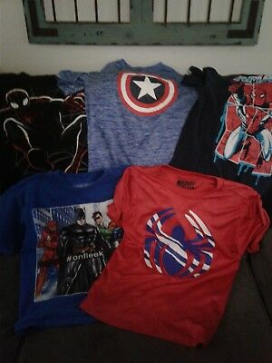 Huge Lot Boys 10/12 Shirts L Used Under Armour Marvel more 18 total
