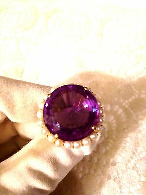 Antique Vintage Genuine Purple Amethyst Real Cultured Pearl14k Setting Ring