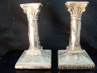 Pair Hallmarked English Sheffield Plate Candlestick Acorn Swags $9.99 No Reserve