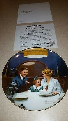 "Norman rockwell plate ""The Birthday Wish"""