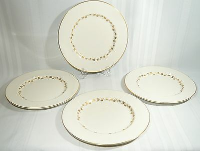 4  Royal Doulton China CITADEL DINNER PLATES 10 5/8 inch WHITE GOLD Leaves