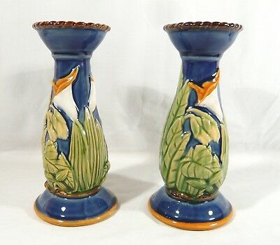 2 MAJOLICA Candlesticks SEYMOUR MANN INC  Hand Painted Faience Pottery  LILY