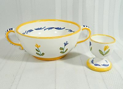 SIGMA Italy POTTERY  Bowl & matching EGG CUP Breakfast Set  Floral HAND PAINTED