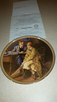 "Norman rockwell plate ""Cofiding in the den"""