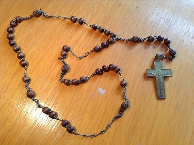 Old Italian Vintage Rosary Wooden Beads Brass Crucifix Cross Jesus Necklace