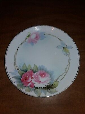 Hand Painted Nippon plate rose 8""