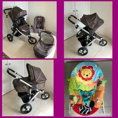Steelcraft stridr3pram with bassinet and car seat(0-4years)