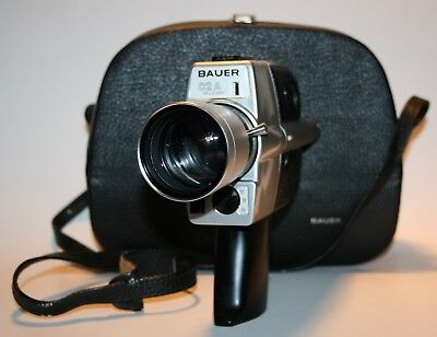 BAUER SUPER 8 CAMERA Tested WITH CUSTOM CASE - GERMAN SILVER AND BLACK