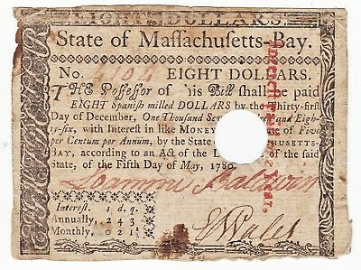 """1780 Early US MASSACHUSETTS BAY Colonial Currency. """"THE UNITED STATES"""" $8 Note"""