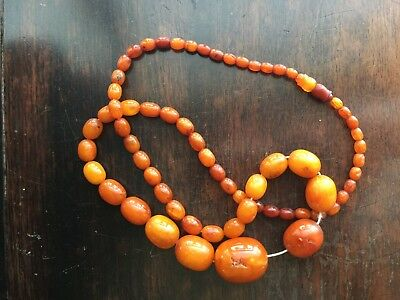 """Chinese natural Amber necklace, L 14"""", weight 46 g"""