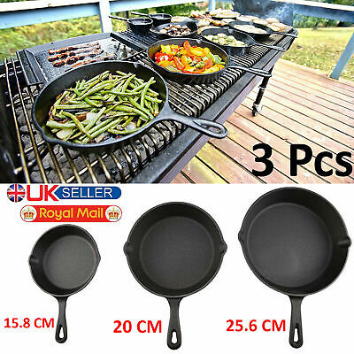 Set 3Pcs CAST IRON Non-Stick Frying Griddle Pan Barbecue Grill Fry BBQ Skillet
