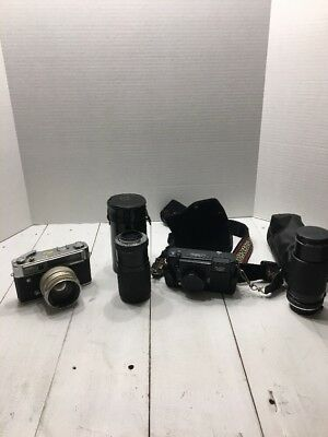 Lot of 2 Vintage Yashica Cameras And Lenses As Is No Returns Free Shipping