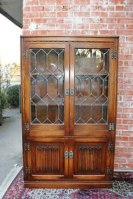 Antique English Oak Leaded Glass Door Bookcase Display Cabinet 5 Shelf Cupboard