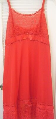 Sassy Vintage No Name Red Nylon & Lace Slip Dress Nightgown Red Satin Ribbon 44