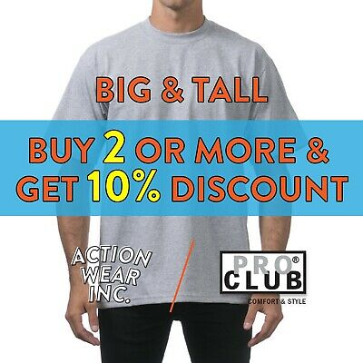 37de20ebf25f Proclub Big And Tall Mens Short Sleeve T Shirt Shirts Heavyweight Cotton Tee