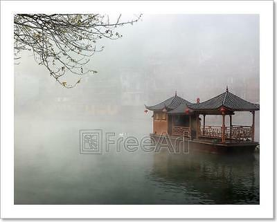China Landscape Of Boat On Foggy River Art Print Home Decor Wall Art Poster - G