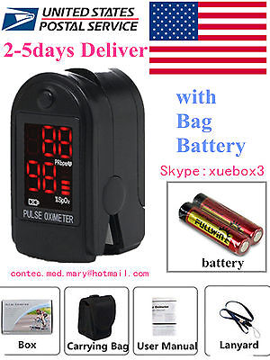 FDA CE, LED Finger Pulse Oximeter Blood Oxygen SpO2 Monitor Cms50DL Contec- USA