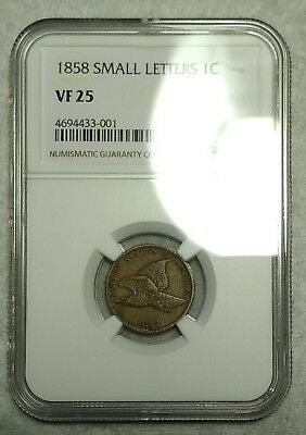 NGC VF-25 1858 SM Letters Flying Eagle Cent! Sharp piece!